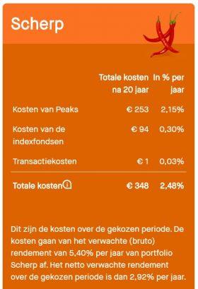 Peaks scherp 10 euro pm 20 jaar scherp negatief rendement closeup